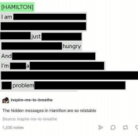 Hungry, Memes, and Relatable: HAMILTON]  I am  just  hungry  And  I'm  a  problem  inspire-me-to-breathe  The hidden messages in Hamilton are so relatable  Source: inspire-me-to-breathe  1,535 notes I'm gonna sue the sun