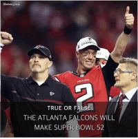 HAMPI  PALEDNS.  TRUE OR FALS  THE ATLANTA FALCONS WILL  MAKE SUPER BOWL 52 True or False: The Atlanta Falcons will make Super Bowl 52. RiseUp AtlantaFalcons