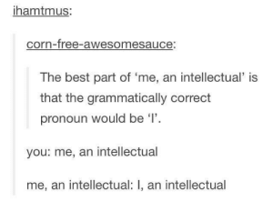 I: hamtmus:  corn-free-awesomesauce:  The best part of 'me, an intellectual is  that the grammatically correct  pronoun would be '1'  you: me, an intellectual  me, an intellectual: I, an intellectual I