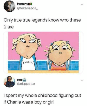 31 Of Today's Best Pics And Memes: hamza  @fakhrizada  Only true true legends know who these  2 are  40  wi  CHAPII  em  @niqquette  Ispent my whole childhood figuring out  Charlie was a boy or girl 31 Of Today's Best Pics And Memes