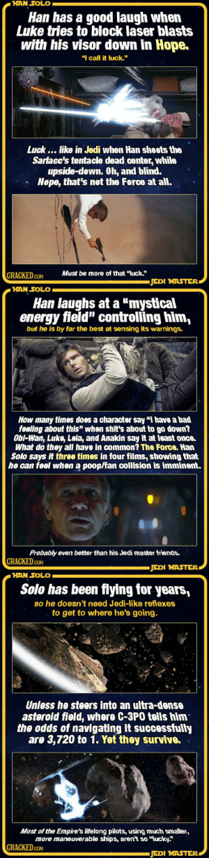 """Bad, Energy, and Friends: HAN SOLO  Han has a good laugh when  Luke tries to block laser blasts  with his visor down in Hope.  """"I call it luck.""""  Luck... like in Jedi when Han shoots the  Sarlacc's tentacle dead center, while  upside-down. 0h, and blind.  Nope, that's not the Force at all.  CRAGKEDMust be more of that """"luck""""  JEDI MASTER   HAN SOLO  Han laughs at a """"mystical  energy field"""" controlling him,  but he is by far the best at sensing its warnings.  How many times does a character say """"I have a bad  feeling about this"""" when shit's about to go down?  Obi-Wan, Luke, Leia, and Anakin say it at least once.  What do they all have in common? The Force. Han  Solo says it three times in four films, showing that  he can feel when a poop/fan collision is imminent.  Probably even better than his Jedi master friends.  GRACKED.cOM  JEDI MASTER   HAN SOLO  Solo has been flying for years,  so he doesn't need Jedi-like reflexes  to get to where he's going.  Unless he steers into an ultra-dense  asteroid field, where C-3PO tells him  the odds of navigating it successfully  are 3,720 to 1. Yet they survive.  Most of the Empire's lifelong pilots, using much smaller,  more maneuverable ships, aren't so """"lucky""""  GRAOKED.COM  JEDI MASTER spatscolombo:  cracked:    12 Times Han Solo Used The Force Without Knowing It    I need Han to accidentally be force strong, mostly because HE WOULD HATE THAT SO MUCH   """"Wow so you're basically a self-taught Jedi""""  """"WHAT–ARE YOU–I'M THE BEST PILOT IN–"""" """"That's force shit"""" """"I'M AN EXCELLENT SHOT"""" """"Yeah, because of the force""""  """"I'M INCREDIBLY PERSUASIVE"""" """"That's the force making people believe your terrible lies against all reason """"  """"I'LL SEE YOU IN HELL"""""""