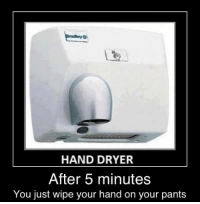 Hand Dryer: HAND DRYER  After 5 minutes  You just wipe your hand on your pant:s