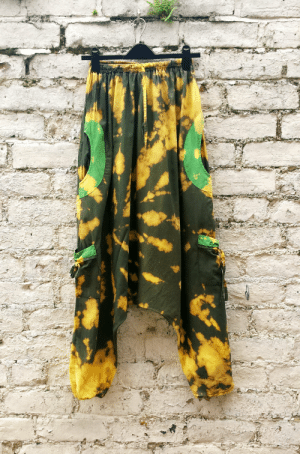 handmadegift-ideas:    Harem Pants Tie Dye Harem Trousers Hippie Yoga Olive Green & Yellow with Pockets 100% Cotton Size Small - Medium UNISEX   Harem pants, tie dye harem trousers, hippie yoga style, in olive green & yellow with pockets, in 100% cotton, to fit size small/medium, unisex.Whether you're at yoga class or strolling along a beach, these striking, cotton harem pants with their unique bleach tie dyed colours and hippie trippy style will ensure you stand out from the crowd!These unique, one of a kind pants were upcycled from a pair of plain coloured harem pants …remade with love by AbiDashery.Only one pair available.   : handmadegift-ideas:    Harem Pants Tie Dye Harem Trousers Hippie Yoga Olive Green & Yellow with Pockets 100% Cotton Size Small - Medium UNISEX   Harem pants, tie dye harem trousers, hippie yoga style, in olive green & yellow with pockets, in 100% cotton, to fit size small/medium, unisex.Whether you're at yoga class or strolling along a beach, these striking, cotton harem pants with their unique bleach tie dyed colours and hippie trippy style will ensure you stand out from the crowd!These unique, one of a kind pants were upcycled from a pair of plain coloured harem pants …remade with love by AbiDashery.Only one pair available.