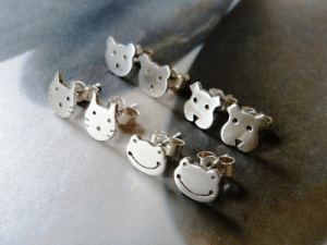 Tumblr, Blog, and Etsy: handmadegift-ideas:    Tiny cat stud earrings made of Sterling silver They have been carefully crafted using Sterling Silver wire and come with Sterling Silver stoppers as shown. Perfect for everyday wear.