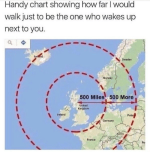France, Germany, and Ireland: Handy chart showing how far I would  walk just to be the one who wakes up  next to you.  Sweden  Norway  500 Miles 500 More  United  Kingdom  ireland  Pola  Germany  France  Ro