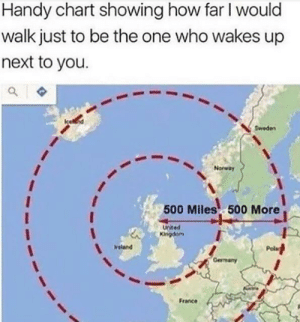 Or even further: Handy chart showing how far I would  walk just to be the one who wakes up  next to you.  Sweden  Norway  500 Miles 500 More  Uited  Kingdom  Pola  Ireland  Gerrmany  France Or even further