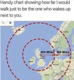 https://t.co/6HrRpmfZkN: Handy chart showing how far I would  walk just to be the one who wakes up  next to you.  Sweden  Norway  500 Miles 500 More  United  Kingdom  Ireland  Gerrmany  France https://t.co/6HrRpmfZkN