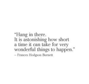 "Astonishing: ""Hang in there.  It is astonishing how short  a time it can take for very  wonderful things to happen.""  22  - Frances Hodgson Burnett"