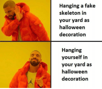 Fake, Halloween, and Decoration: Hanging a fake  skeleton in  your yard as  halloween  decoration  Hanging  yourself in  your yard as  halloween  decoration