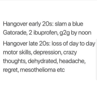 Crazy, G2g, and Gatorade: Hangover early 20s: slam a blue  Gatorade, 2 ibuprofen, g2g by noon  Hangover late 20s: loss of day to day  motor skills, depression, crazy  thoughts, dehydrated, headache,  regret, mesothelioma etc True 😵😵😵😂😂 🔥 Follow Us 👉 @latinoswithattitude 🔥 latinosbelike latinasbelike latinoproblems mexicansbelike mexican mexicanproblems hispanicsbelike hispanic hispanicproblems latina latinas latino latinos hispanicsbelike