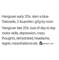Crazy, Funny, and G2g: Hangover early 20s: slam a blue  Gatorade, 2 ibuprofen, g2g by noon  Hangover late 20s: loss of day to day  motor skills, depression, crazy  thoughts, dehydrated, headache,  regret, mesothelioma etc Aesarcasm_ only (Via twitter-allen90logan)
