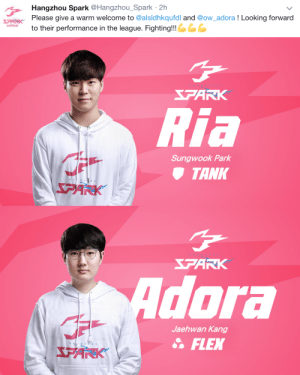delfyi:  Hangzhou Spark adds two more players. Interestingly so far, 3 of there 4 signing have been Korean players. Where are the other Chinese talent that we saw at the World cup and from Chinese tier 2 scene? Also when can I buy these sweatshirts???: Hangzhou Spark@Hangzhou_Spark 2h  Please give a warm welcome to @alsldhkqufdl and @ow_adora ! Looking forward  to their performance in the league. Fighting!!!   FARK  Ria  Sungwook Park  TANK  PANK   FARK  dora  Jaehwan Kang  FLEX delfyi:  Hangzhou Spark adds two more players. Interestingly so far, 3 of there 4 signing have been Korean players. Where are the other Chinese talent that we saw at the World cup and from Chinese tier 2 scene? Also when can I buy these sweatshirts???
