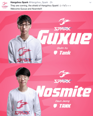 Tumblr, Blog, and Http: Hangzhou Spark @Hangzhou_Spark 2h  They are coming, the shield of Hangzhou Spark! --  Welcome Guxue and Nosmite!!!   FARK  uxue  Qiulin Xu  Tank   FAR  osmite  Daun Jeong  TANK  HA N G Z delfyi:  We can finally see Guxue in PINK