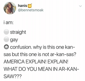 I thought i was straight until today: hanis  @bennetsmoak  i am:  straight  gay  confusion. why is this one kan-  sas but this one is not ar-kan-sas?  AMERICA EXPLAIN! EXPLAIN!  WHAT DO YOU MEAN IN AR-KAN  SAW??1? I thought i was straight until today