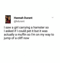 Saw, Tumblr, and Girl: Hannah Durant  @hdurant  I saw a girl carrying a hamster so  I asked if I could pet it but it was  actually a muffin so l'm on my way to  jump of a cliff now TAg a friend that would make this mistake