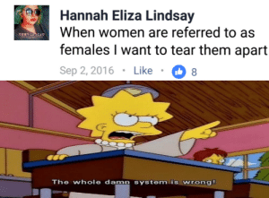Fire, Reddit, and Women: Hannah Eliza Lindsay  When women are referred to as  females I want to tear them apart  Sep 2, 2016 . Like ·08  ˇ家ほうしめじょ  The whole damn system is wrong! The world is on fire