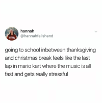 Christmas, Mario Kart, and Music: hannah  @hannahfallshand  NDIANA  going to school inbetween thanksgiving  and christmas break feels like the last  lap in mario kart where the music is all  fast and gets really stressful until next year!!
