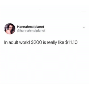 Bailey Jay, World, and Girl Memes: Hannahmalplanet  @hannahmalplanet  In adult world $200 is really like $11.10 I'm too expensive for myself @hannahmlplanet