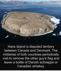 Two groups can have a dispute without being uncivil!: Hans Island is disputed territory  between Canada and DenmarK. The  militaries of both countries periodically  visit to remove the other guy's flag and  leave a bottle of Danish schnapps or  Canadian whiskey. Two groups can have a dispute without being uncivil!