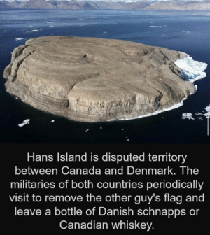 A wholesome war: Hans Island is disputed territory  between Canada and Denmark. The  militaries of both countries periodically  visit to remove the other guy's flag and  leave a bottle of Danish schnapps or  Canadian whiskey. A wholesome war