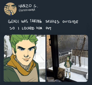 Tumblr, Blog, and Http: HANZO S  OBETERSHIMADA  GENJ I WAS TAKING SELFIES OUTSIDE  SO LOCKED HIM OVT lecheplant:  He's in his boxers cause he didnt think his brother would do this[If you get the reference 👈🏼👀👈🏼][don't tag as shinnadacest,thanks!]