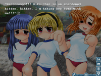 """The original sprites for Higurashi.... I can't even. The PS2 sprites are where it's really at.  I'm about halfway through the last chapter now, and I must say that I am looking forward to moving onto Umineko. At the beginning of chapter 8 is a 50-piece puzzle of excerpts that lasts for like 5 hours. It's not bad by any means, but it seems to drag for eternity at points.   -Seabiscuit: """"Haoooooooo Rika-chan is an abandoned  kitten, kitten. I'm taking her home with  me!  TO  QUICK LOAD MENU The original sprites for Higurashi.... I can't even. The PS2 sprites are where it's really at.  I'm about halfway through the last chapter now, and I must say that I am looking forward to moving onto Umineko. At the beginning of chapter 8 is a 50-piece puzzle of excerpts that lasts for like 5 hours. It's not bad by any means, but it seems to drag for eternity at points.   -Seabiscuit"""