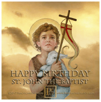 "Birthday, Head, and Jesus: HAP  ST.JO  ST  RACYLCHRISTIANSON  WWw.PoRTR  cww.RISTT  RAITSOESAINTS.COM <p><a href=""http://portraitsofsaints.tumblr.com/post/162198615092/happy-birthday-the-nativity-of-st-john-the"" class=""tumblr_blog"">portraitsofsaints</a>:</p><blockquote> <h2>HAPPY BIRTHDAY<br/>The Nativity of St. John the Baptist<br/>Saint John the Baptist</h2> <p><b>Died: 30 AD<br/>Feast day: June 24 (birth) August 29 (death)<br/>Patronage: convulsions, epilepsy, hailstorms, baptism, converts, lambs, Jordan<br/><br/>John the Baptist was the son of Zachary and Elizabeth and cousin of Jesus. John began his ministry around age 27, preaching a message of repentance to the people of Jerusalem. He converted many and prepared the way for the coming of Jesus. He Baptized Christ, after which he stepped away and told his disciples to follow Jesus. Imprisoned by King Herod and was beheaded.</b></p> <p><a href=""https://www.portraitsofsaints.com/collections/all/all-images-st-john-the-baptist""><b>{website}</b></a></p> </blockquote>  <p>Idk about Catholics but the Orthodox have like 4 or 5 feast days for St. John, including a few foe discoveries and rediscoveries of his head.</p>"