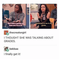 Time, Victorious, and Trendy: Happened to me in 8th  from an A to a D?  grade.  thecreatorgirl  ITHOUGHT SHE WAS TALKING ABOUT  GRADES.  bekkaa  i finally get it! Jade was my all time favorite character from victorious I loved her