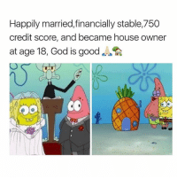 Goals, God, and Memes: Happily married,financially stable,750  credit score, and became house owner  at age 18, God is good  OCO My goals