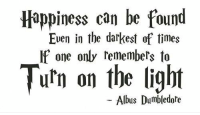 Albus Dumbledore.❤️: Happiness can be found  Even in the darkest of times  If one only remembers to  Turn on the light  Albus Dumbledore Albus Dumbledore.❤️
