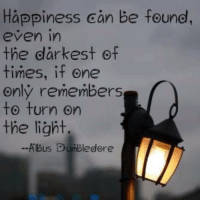 turning on the light: Happiness can be found,  even in  the darkest of  times, if one  only remembers  to turn on  the light  Albus Dumbledore