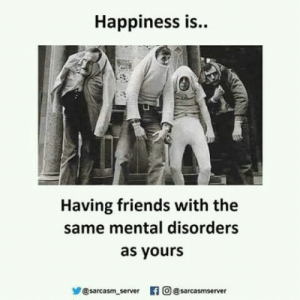 Happiness: Happiness is..  Having friends with the  same mental disorders  as yours  步@sarcasm server 旧  의 @sarcasm server Happiness