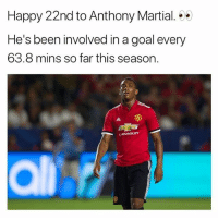 Birthday, Soccer, and Sports: Happy 22nd to Anthony Martial.  He's been involved in a goal every  63.8 mins so far this season.  CHEVROLET Happy Birthday Martial 🎉