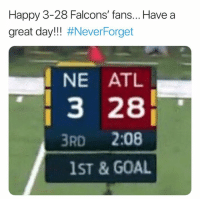 Nfl, Falcons, and Goal: Happy 3-28 Falcons' fans... Have a  great day!! #Never:Forget  NE ATL  З 28  3RD 2:08  1ST & GOAL 💀💀💀💀😂😂😂😂😂😂😂