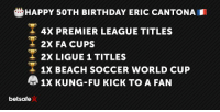 Today marks the 50th birthday of Eric Cantona, the King of Old Trafford. 👑 MUFC: HAPPY 50TH BIRTHDAY ERIC CANTONA  T 4x PREMIER LEAGUE TITLES  2X FA CUPS  2x LIGUE 1 TITLES  1X BEACH SOCCER WORLD CUP  1x KUNG-Fu KICK TO A FAN  betsafe Today marks the 50th birthday of Eric Cantona, the King of Old Trafford. 👑 MUFC