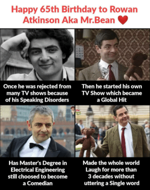 Happy 65th Birthday to Rowan Atkinson!: Happy 65th Birthday to Rowan  Atkinson Aka Mr.Bean  Once he was rejected from  many TV shows because  of his Speaking Disorders  Then he started his own  TV Show which became  a Global Hit  What  Has Master's Degree in  Electrical Engineering  still choosed to become  Made the whole world  Laugh for more than  3 decades without  uttering a Single word  a Comedian  XXAMI Happy 65th Birthday to Rowan Atkinson!