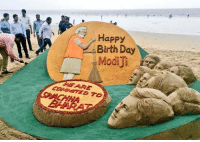 Sudarshan Patnaik's sand Art on mumbai's Juhu beach..  Happy birthday Narendra Modiji...: Happy  Birth Day Sudarshan Patnaik's sand Art on mumbai's Juhu beach..  Happy birthday Narendra Modiji...