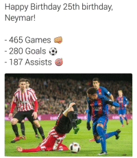 What a player 🔥: Happy Birthday 25th birthday,  Neymard  465 Games  280 Goals  187 Assists  O  IAR What a player 🔥