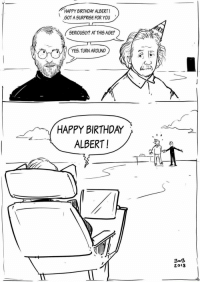 Birthday, Stephen, and Stephen Hawking: HAPPY BIRTHDAY ALBERT!  GOT A SURPRISE FOR YOU  SERIOUSLY? AT THIS AGE?  YES. TURN AROUND  HAPPY BIRTHDA〉 、 2  ALBERT!  2018 <p>RIP Stephen Hawking, you will not be forgotten.</p>