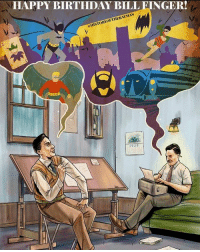 "Memes, The Penguin, and Green Lantern: HAPPY BIRTHDAY BILLEINGER!  DAY ATMAN  HISTORYOF a Hey Gothamites! History of the Batman wants to wish American comic book writer and Batman co-creator Bill Finger a bat-tastic 103rd birthday! Born Milton ""Bill"" Finger on February 8th, 1914, he began writing comic strips in the same studio as artist Bob Kane in 1938. After National Comics (Now @DCComics) approached Kane to create a hero just as popular as their newest star, Superman and Kane conceived the idea for a character called ""The Bat-Man"", Finger was brought in to ghost write on the project. Not only did Bill Finger do major design changes to Kane's original vision of the Bat-Man, such as changing the red and yellow color scheme to blue and grey, the domino mask to a cowl, the stiff bat wings to a flowing cape, but he also made Bat-Man a scientific detective (inspired by figures like Douglas Fairbanks and Sherlock Holmes), even adding gloves to the vigilante's ensemble. Those elements and Finger's brilliant stories mixed with Kane's superhero vigilante persona refined the character as the dark icon of the DC Universe to Superman's bright image, and the Bat-Man was launched in Detective Comics (Vol 1) 27 in March 1939. Bill Finger's contributions surpass just creating Batman, but he is also credited for mythology such as the Batmobile, the Batcave and naming Batman's home 'Gotham City' [original art by Paul Roman Martinez : The19XX.com]. Finger also co-created classic characters like (but not limited to) Robin, the Boy Wonder, Green Lantern, Wild Cat, The Joker (with Kane and Jerry Robinson), The Riddler (with Dick Sprang) and The Penguin. Finger passed in 1974, and in his honor, Comic-Con International established in 2005 the Bill Finger Award for Excellence in Comic Book Writing. Due to Bob Kane's contract with National Publications back in 1939 stating he was the sole creator of 'the Bat-Man', for 75 years Bill Finger was not credited with the creation of the Caped Crusader. It wasn't until September 2015 when DC Comics announced Finger would begin to see credit for Batman in DC Comics. We thank Bill Finger for being one of the most important aspects of Batman's history by celebrating his creation every day. ✌🏼💙🦇🎉"