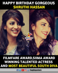 Birthday Wishes To #ShrutiHassan 😃: HAPPY BIRTHDAY GORGEOUS  SHRUTHI HASSAN  AUGHING  FILMFARE AWARD,SIIMA AWARD  WINNING TALENTED ACTRESS  AND MOST BEAUTIFUL SOUTH DIVA  RT (2回8) /laughingcolours Birthday Wishes To #ShrutiHassan 😃