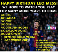 Happy 30th birthday Leo Messi rvcjinsta: HAPPY BIRTHDAY LEO MESSI  WE HOPE TO WATCH YOU PLAY  FOR MANY MORE YEARS TO COME  4X UCL  8X LALIGA  3X CWC  5X CDR  4X GOLDEN BOOT  5X BALLON D'ORS  2X UEFA POTY  1 OLYMPIC GOLD MEDAL  1 U-20 WORLD CUP  RVCJ  WWW.RVCJ.COM  2  M: MAGICAL  E: EXTRATERRESTRIAL  S: SUPERNATURAL  S: SENSATIONAL  l: INCREDIBLE Happy 30th birthday Leo Messi rvcjinsta