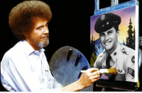 "Happy Birthday, Master Sgt. Bob Ross!  In case you didn't know, Bob Ross was a U.S. Air Force medical technician and later served as a first sergeant of the clinic at Eielson Air Force Base, Alaska. He served for 20 years before retiring as a master sergeant. After retiring, he became famous for his television show, ""The Joy of Painting"", in which he taught others to paint. He would be 73 today.  Photo elements courtesy of Bob Ross Inc.  cc: Airman Magazine: Happy Birthday, Master Sgt. Bob Ross!  In case you didn't know, Bob Ross was a U.S. Air Force medical technician and later served as a first sergeant of the clinic at Eielson Air Force Base, Alaska. He served for 20 years before retiring as a master sergeant. After retiring, he became famous for his television show, ""The Joy of Painting"", in which he taught others to paint. He would be 73 today.  Photo elements courtesy of Bob Ross Inc.  cc: Airman Magazine"