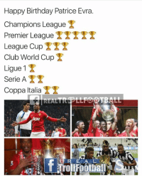 Birthday, Club, and Memes: Happy Birthday Patrice Evra.  Champions League  T  Premier League  League Cup  Club World Cup  Ligue 1  T  Serie A  Coppa Italia  TBAL Happy Birthday Evra 🎂