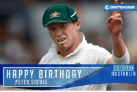 Aussie speedster Peter Siddle turns 32 today.: HAPPY BIRTHDAY  PETER SIDOLE  OcRICTRACKER  25111984  AUSTRALIA Aussie speedster Peter Siddle turns 32 today.