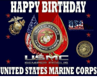 us marine: HAPPY BIRTHDAY  SEINAPER END ELMS  UNITED STATES MARINE CORPS