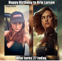 Birthday, Deadpool, and Happy Birthday: Happy Birthday to Brie Larson  Who turns 21 today. Artist rendition of Captain Marvel by http://dkeeno.artstation.com  ~Deadpool