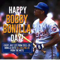Memes, Cbssports, and Happy: HAPPY  BOBBY  BONILLA  EVERY JULY 1ST FROM 2011-35  BONILLA GETS $1,193,248.20  FROM THE METS  @CBSSports Bonilla hasn't played since 2001... but he's still getting PAID.