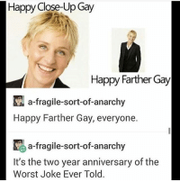 """Feminism, Lgbt, and Memes: Happy Close-Up Gay  Happy Farther Gay  a-fragile-sort-of-anarchy  Happy Farther Gay, everyone.  a-fragile-sort-of-anarchy  It's the two year anniversary of the  Worst Joke Ever Told. HOTLINES:   LGBT Hotline: 8664887386 Suicide Hotline: 18002738255 Transgender Hotline: 8775658860 Self Harm Hotline: 18003668288 Abuse Hotline: 18007997233 Sexual Assault Hotline: 8779955247 Eating Disorder Hotline: 18009312237 Crisis Text Line: Text """"HOME"""" 741-741   lgbt lgbtq lgbtpride saga lgbtcommunity pansexual lgbtqia lgbtrights lgbtsupport lgbtyouth equality genderfluid textpost nonbinary asexual lgbtqa agender gainpost polysexual demisexual demigender bigender lgbtlove feminism feminist lgbtqap lovewins loveislove lgbtqsupport lgbtsupporter"""