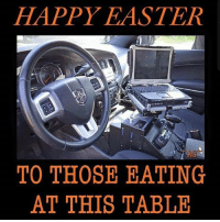 Easter, Memes, and Police: HAPPY EASTER  CAG  TO THOSE EATING  AT THIS TABLE Happy Easter! Stay safe. CopHumor CopHumorLife Police PoliceOfficer ThinBlueLine Cop Cops BlueFamily WolfHunters HumanizingTheBadge LawEnforcement LawEnforcementOfficer Easter Sunday Work